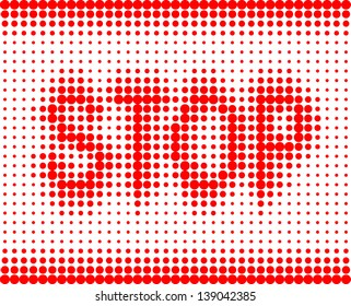 STOP red inscription on a white background with halftone effect. raster version, vector file also included