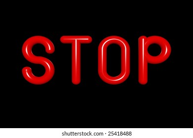 STOP with Red Neon Balloon Letters