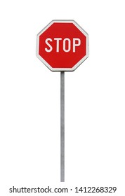 Stop. Red road sign on metal pole isolated on white background