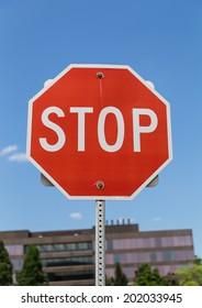 Stop Road Sign Closeup