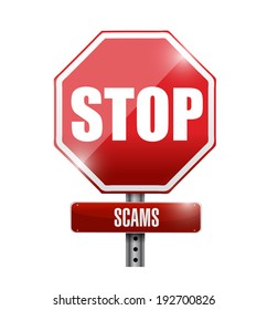 stop scams signpost illustration design over a white background