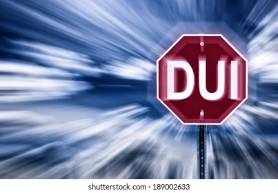 Stop sign against a moody sky with the letters DUI printed on it.  Image is blurred to imply motion and blurred vision due to intoxication.