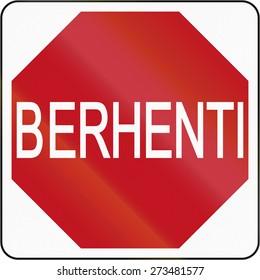 Stop sign in Brunei.