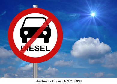 stop sign with car and the word Diesel