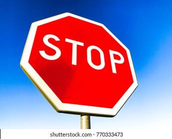 Stop sign at High way