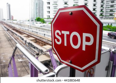 stop sign inelectric  train station