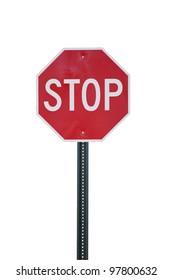 Stoppschild einzeln auf Weiß.  Beschneidungspfad inbegriffen.