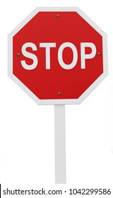 Stop sign - isolated over a white background, 3D illustration, 3D render.