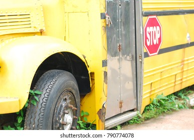 Stop sign on yellow truck