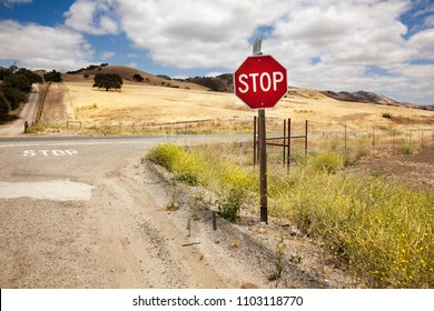 Stop sign in a road of California