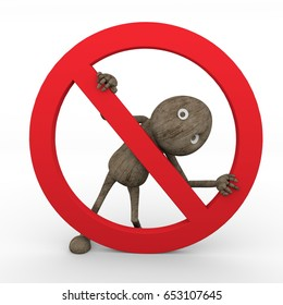 Stop sign symbol warning icon 3D Wooden Character.