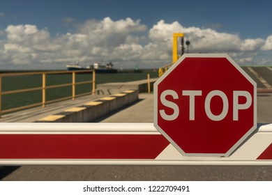 Stop sign in the terminal of the port of Baltic