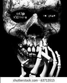 stop smoking or else- written in the eye sockets of a skull smoking a cigarette