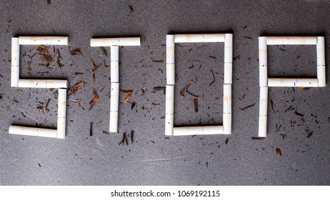 Stop smoking, written over gray