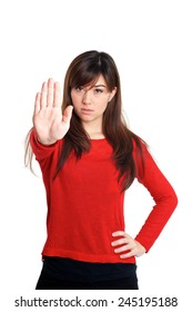 Stop and talk to my hand gesture on white background