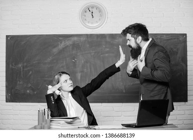 Stop talking to me. Criticism and objection concept. Teacher wants man to shut up. Please shut up. Tired of complaints. Indifferent about objection. Dismissed objection. School teacher and parent.