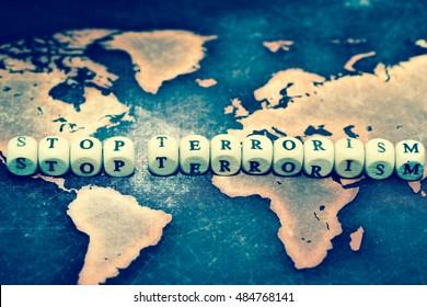 STOP TERRORISM on grunge world map