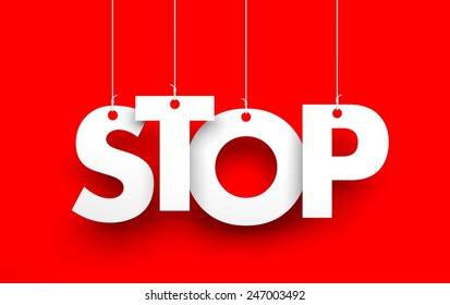 STOP. Text hanging on the rope