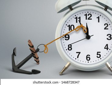 Stop time concept , clock stop by anchor