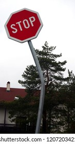 Stop traffic sign, damaged in a traffic accident