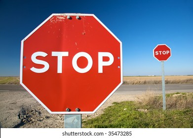 stop traffic sign next to road in valladolid spain