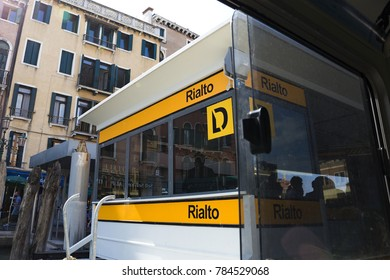 stop of water bus vaporetto in Venice, Italy 2017-08-22