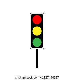 Stoplight sign. Icon traffic light on white background. Symbol regulate movement safety and warning. Electricity semaphore regulate transportation on crossroads urban road. illustration.