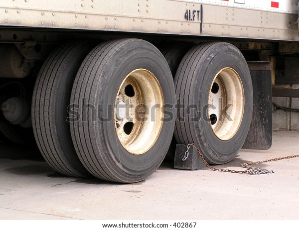 Stopped truck wheels