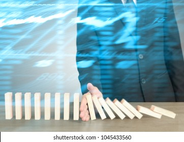 Stopping domino concept , business solution