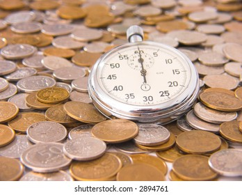 stop-watch and coins