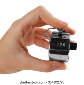 Stopwatch in hand isolated on white background, close up