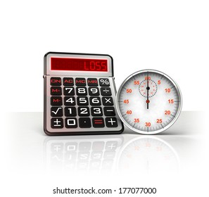 stopwatch with negative business calculations  isolated on white illustration