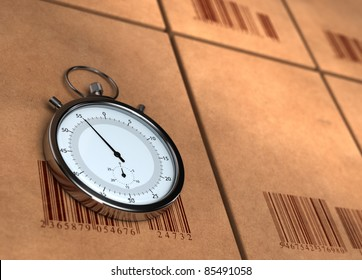 stopwatch over many carton boxes with barecodes, the chronometer is positioned on the left side, the right side is blurred for copy space - 3D render