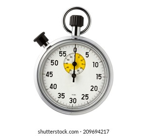 Stopwatch second hand housing is a metal silhouette on a white background.