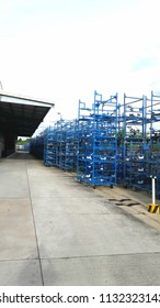 Storage area of stacked blue stack to prepare for delivery into the production line in the industrial estate.