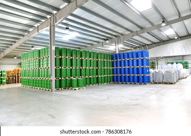 storage of barrels in a chemical factory - logistics and shipping