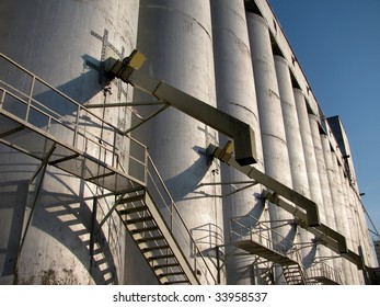 Storage bins at a grain elevator in an Ontario harbor.