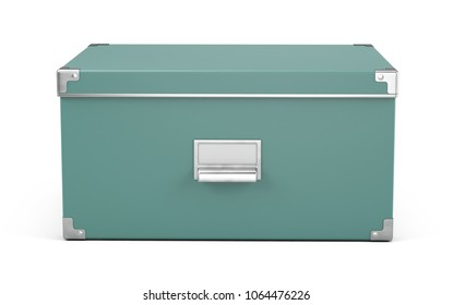 Storage box with nameplete isolated on white background - 3d rendering