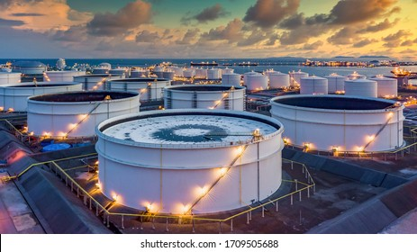Storage of chemical products like oil, petrol, gas, Aerial view oil storage tank terminal and tanker, petrol industrial zone, Business commercial trade fuel and energy transport by tanker vessel.