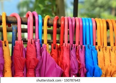 storage of different colors umbrella