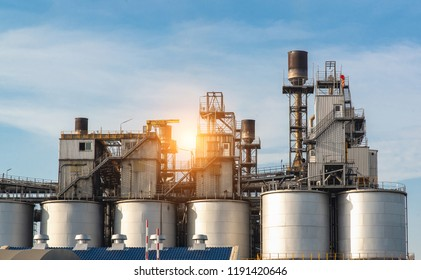 Storage and the factory of the chemicals in oil and gas industry area.