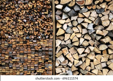 Storage of firewood sorted and separated