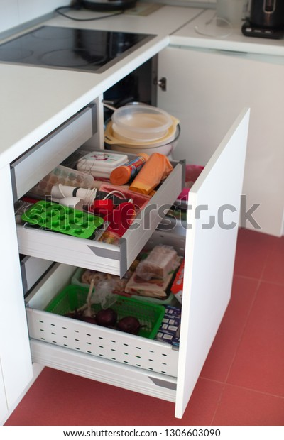 Storage Kitchen Order Kitchen Cabinets Interior Stock Photo ...