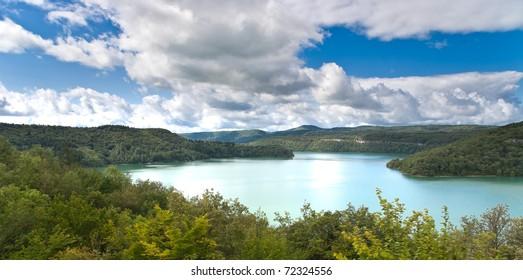 "Storage lake called ""Lac de Vouglans"" in north eastern france (departement Jura, near Lons le Saunier)"