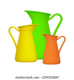 Storage for liquids - Green orange and yellow jug ewer on a white background. Isolated