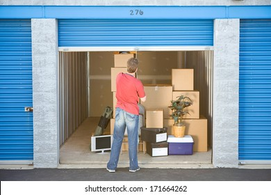 Storage: Man Finished Putting Stuff In Storage