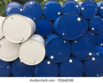 Storage, pile of steel bucket for recycling, industrial waste sorting, waste reduction, reuse and sorting for recycle.