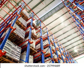 storage rack in chemical warehouse