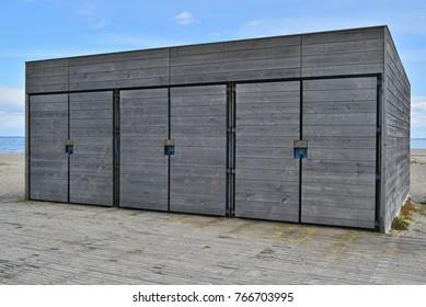 Storage sand Locker rooms at a beach