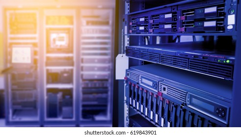 Storage server for web and data server in data center room and blur background.